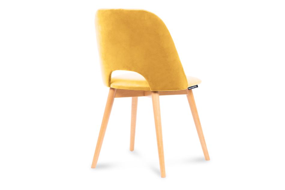 TINO Krzesło do jadalni welur żółte musztardowy/jasny dąb - zdjęcie 2