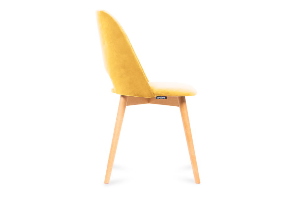 TINO Krzesło do jadalni welur żółte musztardowy/jasny dąb - zdjęcie 3