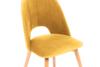 TINO Krzesło do jadalni welur żółte musztardowy/jasny dąb - zdjęcie 5