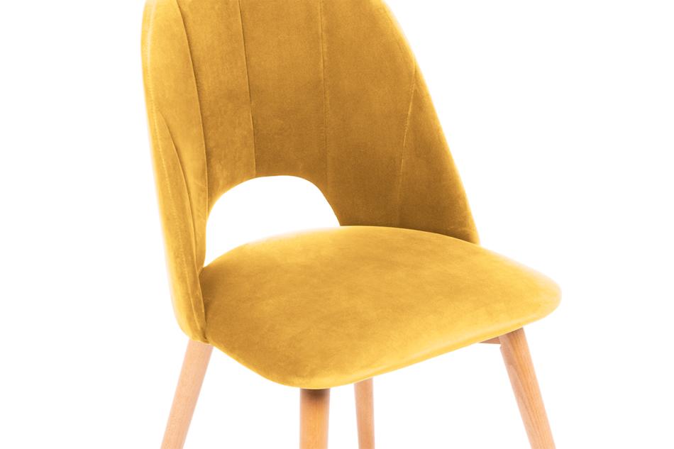 TINO Krzesło do jadalni welur żółte musztardowy/jasny dąb - zdjęcie 4