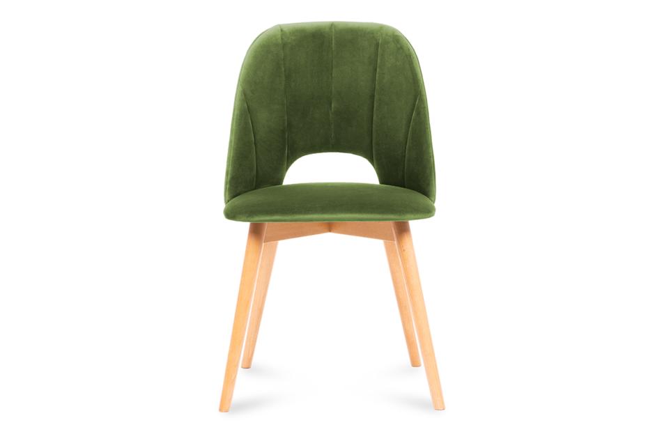 TINO Krzesło do jadalni welur zielone oliwkowy/jasny dąb - zdjęcie 1