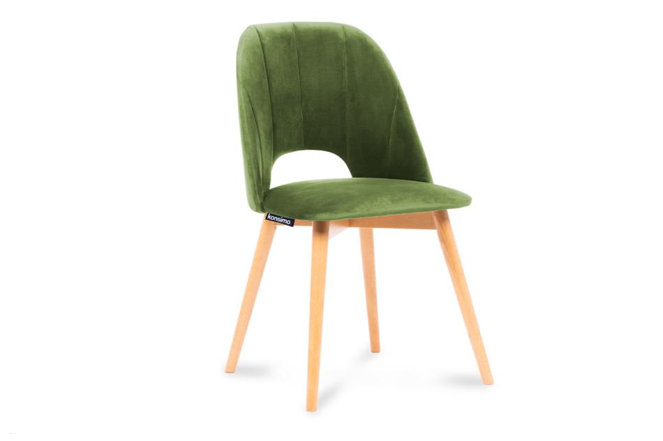 TINO Krzesło do jadalni welur zielone oliwkowy/jasny dąb - zdjęcie 0