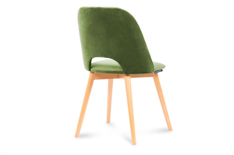 TINO Krzesło do jadalni welur zielone oliwkowy/jasny dąb - zdjęcie 2