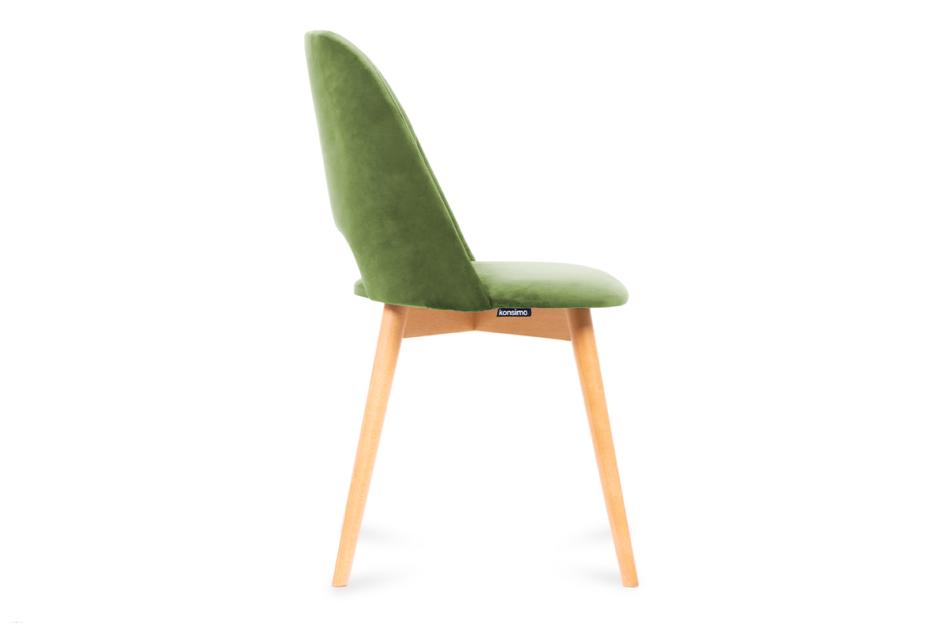 TINO Krzesło do jadalni welur zielone oliwkowy/jasny dąb - zdjęcie 3