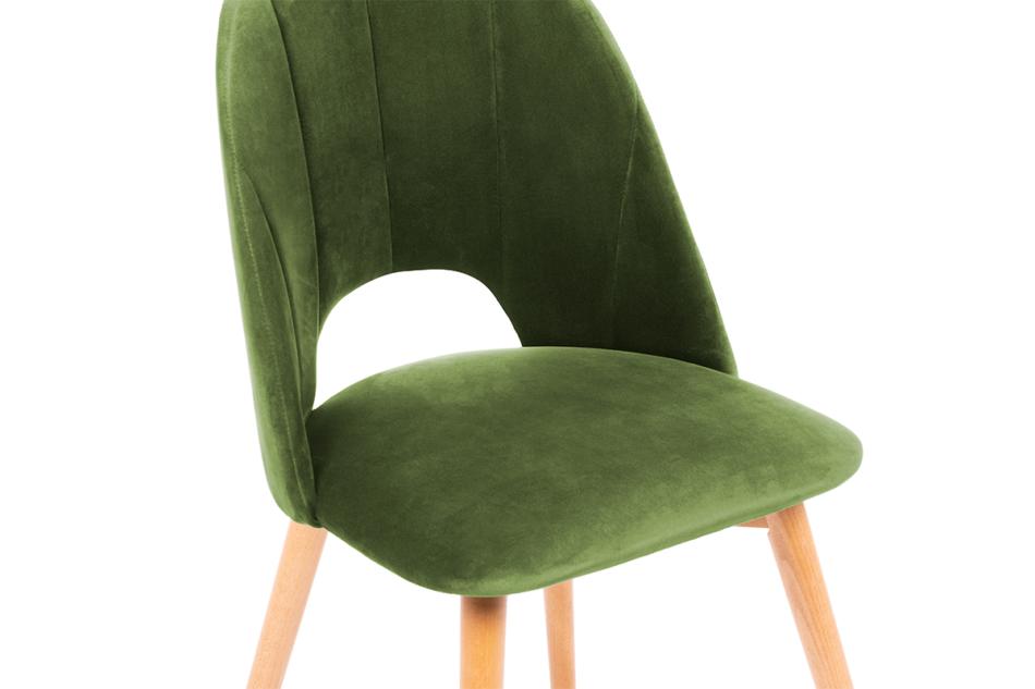 TINO Krzesło do jadalni welur zielone oliwkowy/jasny dąb - zdjęcie 4