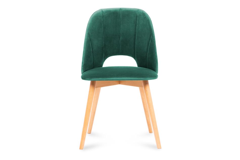 TINO Krzesło do jadalni welur butelkowa zieleń ciemny zielony/jasny dąb - zdjęcie 1