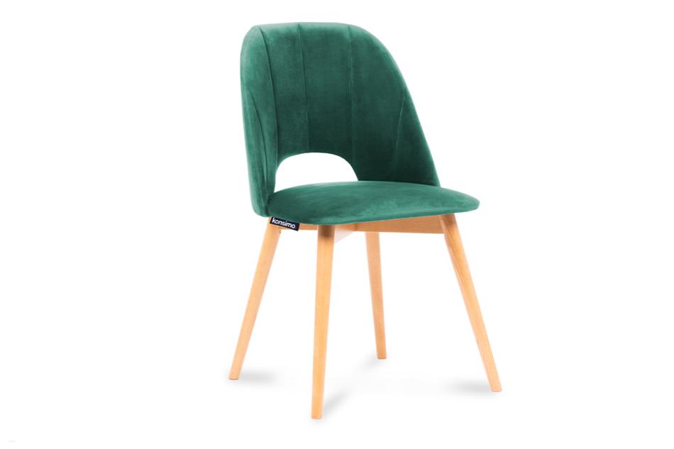 TINO Krzesło do jadalni welur butelkowa zieleń ciemny zielony/jasny dąb - zdjęcie 0
