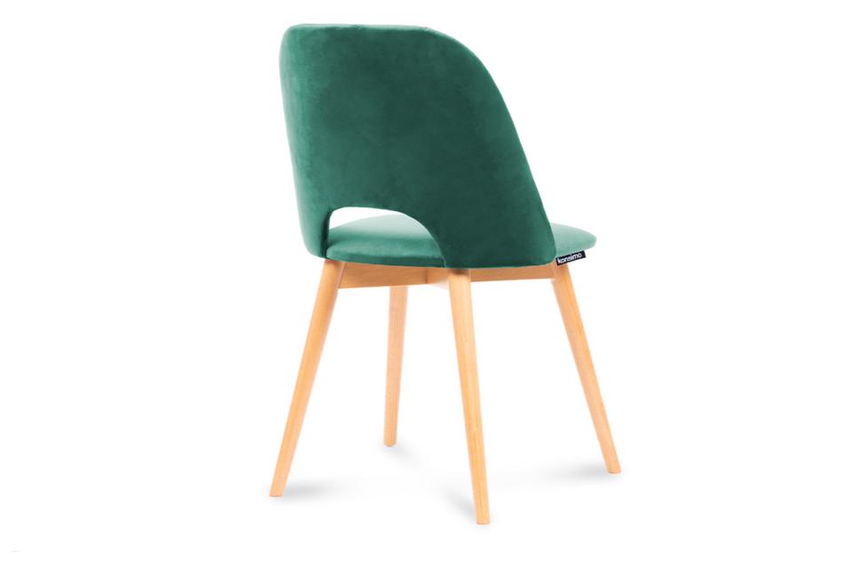 TINO Krzesło do jadalni welur butelkowa zieleń ciemny zielony/jasny dąb - zdjęcie 2