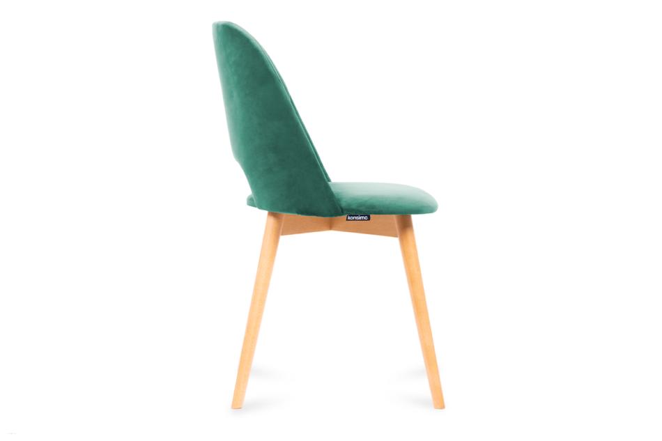 TINO Krzesło do jadalni welur butelkowa zieleń ciemny zielony/jasny dąb - zdjęcie 3