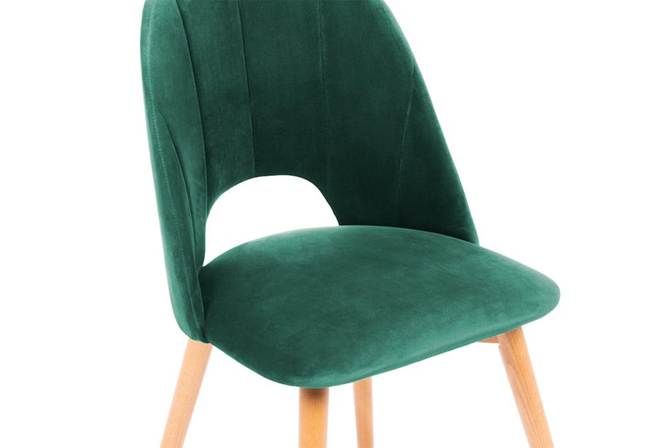 TINO Krzesło do jadalni welur butelkowa zieleń ciemny zielony/jasny dąb - zdjęcie 4