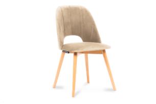 TINO, https://konsimo.pl/kolekcja/tino/ Krzesło do jadalni welur beżowe beżowy/jasny dąb - zdjęcie