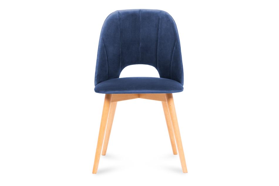 TINO Krzesło do jadalni welur granatowe granatowy/jasny dąb - zdjęcie 1