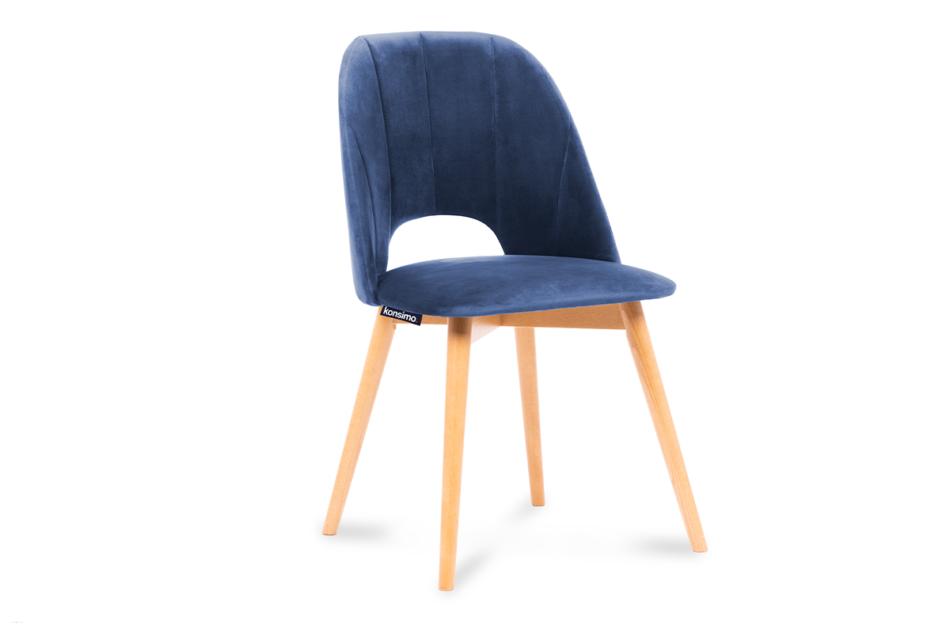TINO Krzesło do jadalni welur granatowe granatowy/jasny dąb - zdjęcie 0