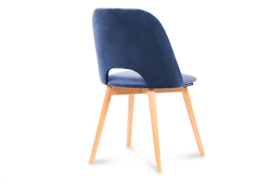 TINO Krzesło do jadalni welur granatowe granatowy/jasny dąb - zdjęcie 2