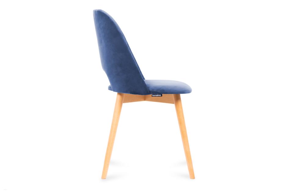 TINO Krzesło do jadalni welur granatowe granatowy/jasny dąb - zdjęcie 3