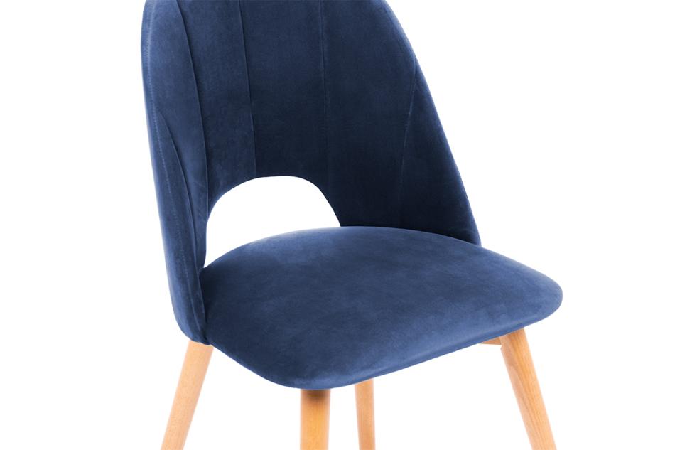 TINO Krzesło do jadalni welur granatowe granatowy/jasny dąb - zdjęcie 4