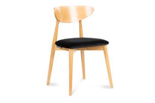 RABI, https://konsimo.pl/kolekcja/rabi/ Krzesło drewniane dąb czarny welur czarny/jasny dąb - zdjęcie