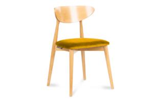 RABI, https://konsimo.pl/kolekcja/rabi/ Krzesło drewniane dąb żółty welur musztardowy/dąb jasny - zdjęcie