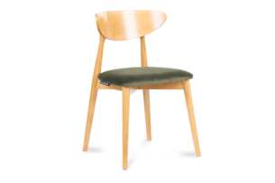 RABI, https://konsimo.pl/kolekcja/rabi/ Krzesło drewniane dąb zielony welur zielony/dąb jasny - zdjęcie