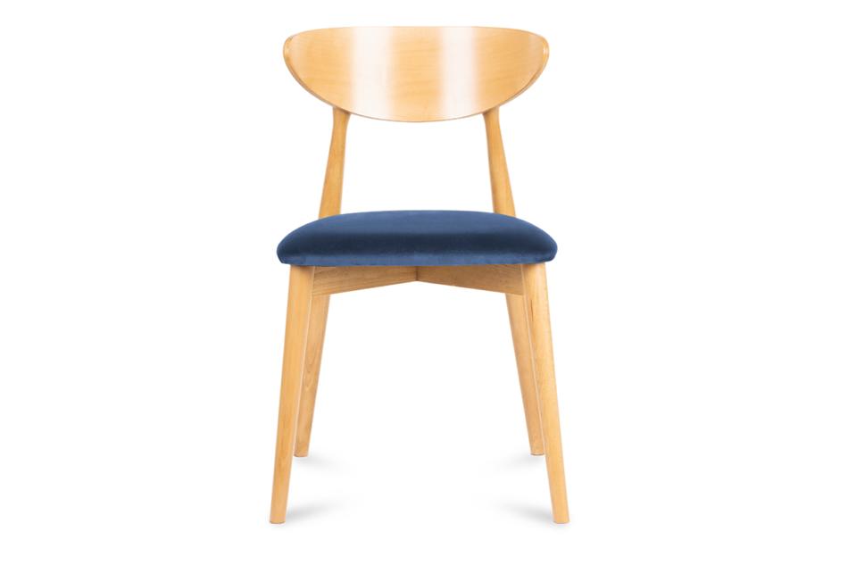 RABI Krzesło drewniane dąb granatowy welur granatowy/dąb jasny - zdjęcie 1