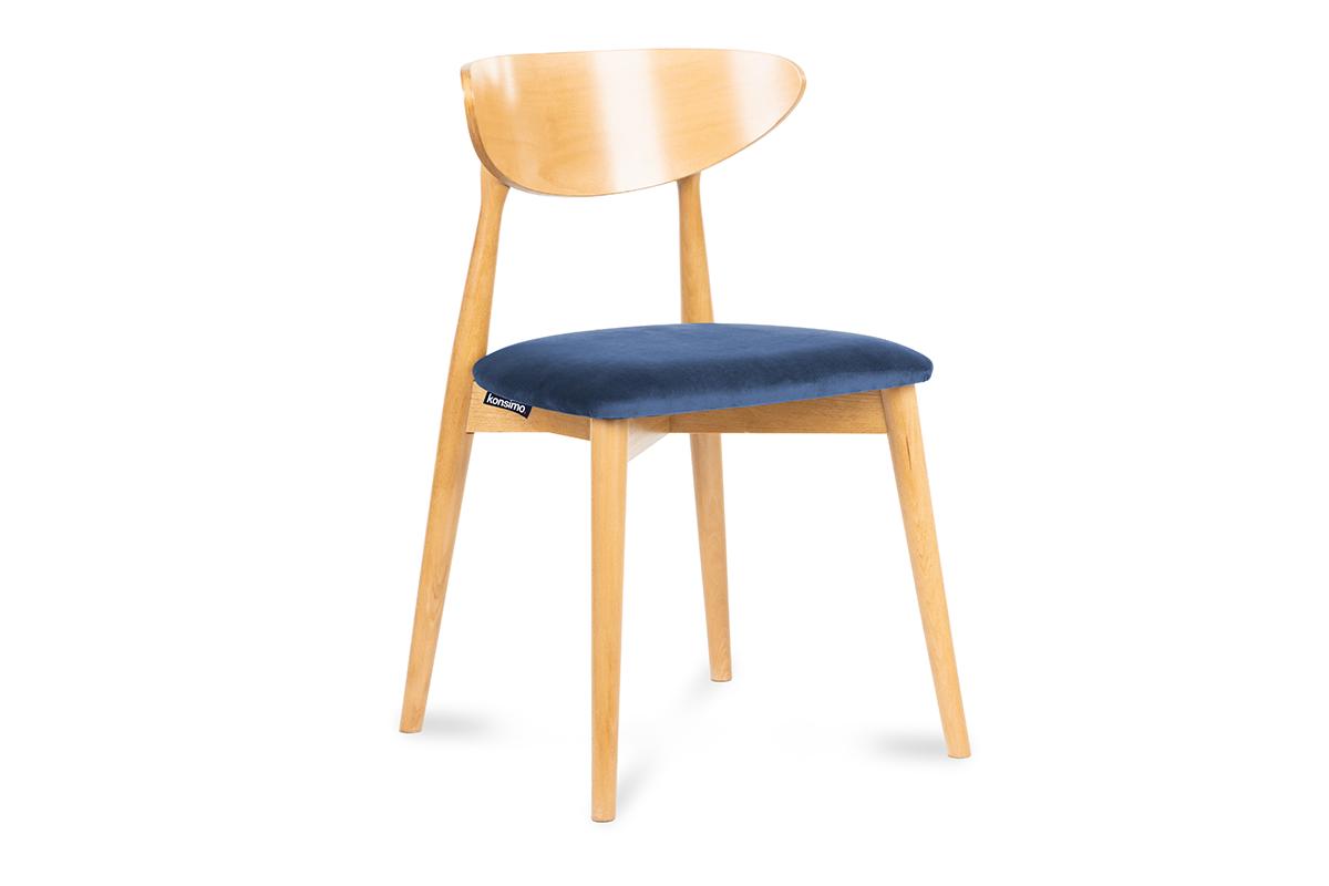 Krzesło drewniane dąb granatowy welur