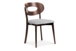 TANER, https://konsimo.pl/kolekcja/taner/ Krzesło vintage mahoń szare szary/mahoń - zdjęcie