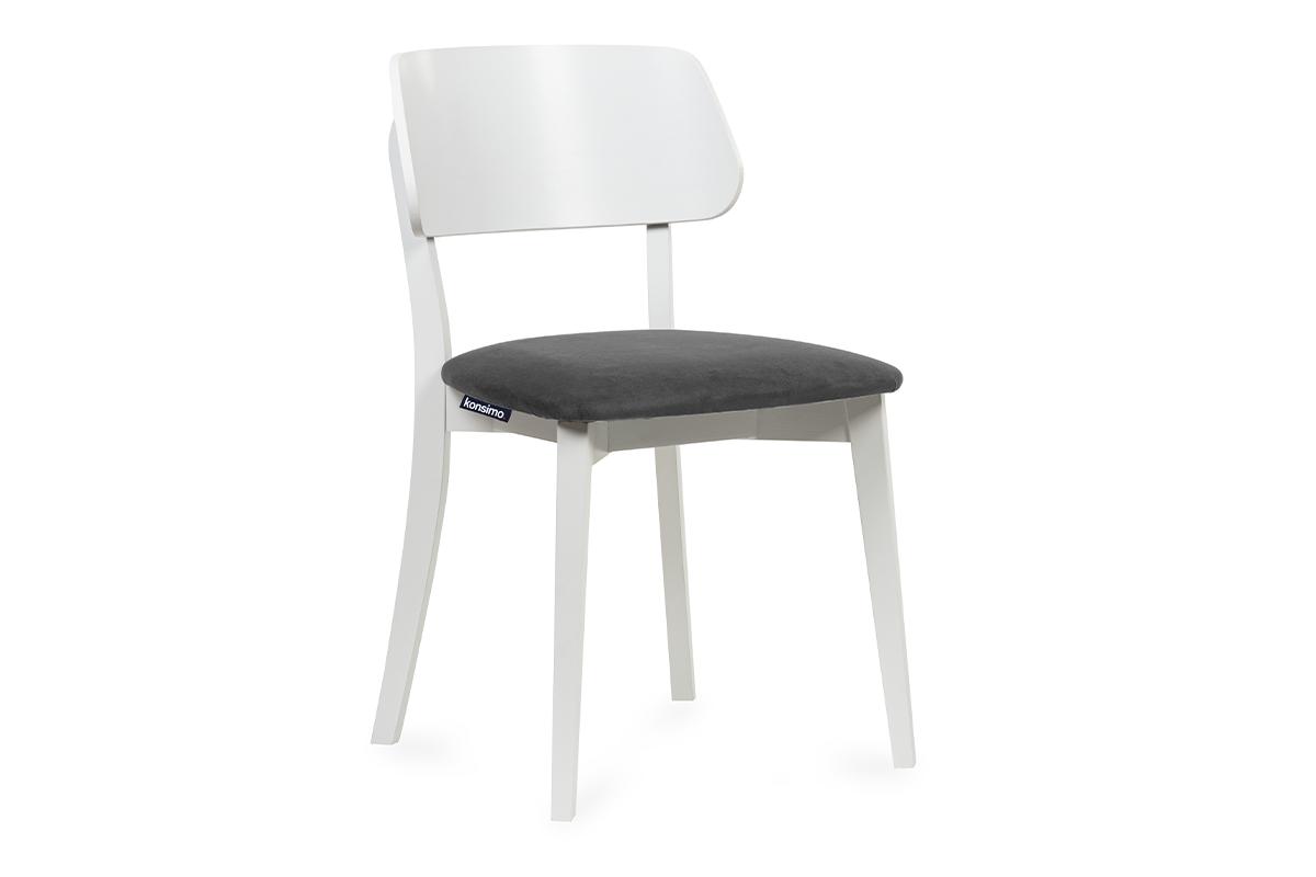 Krzesło nowoczesne białe drewniane szary