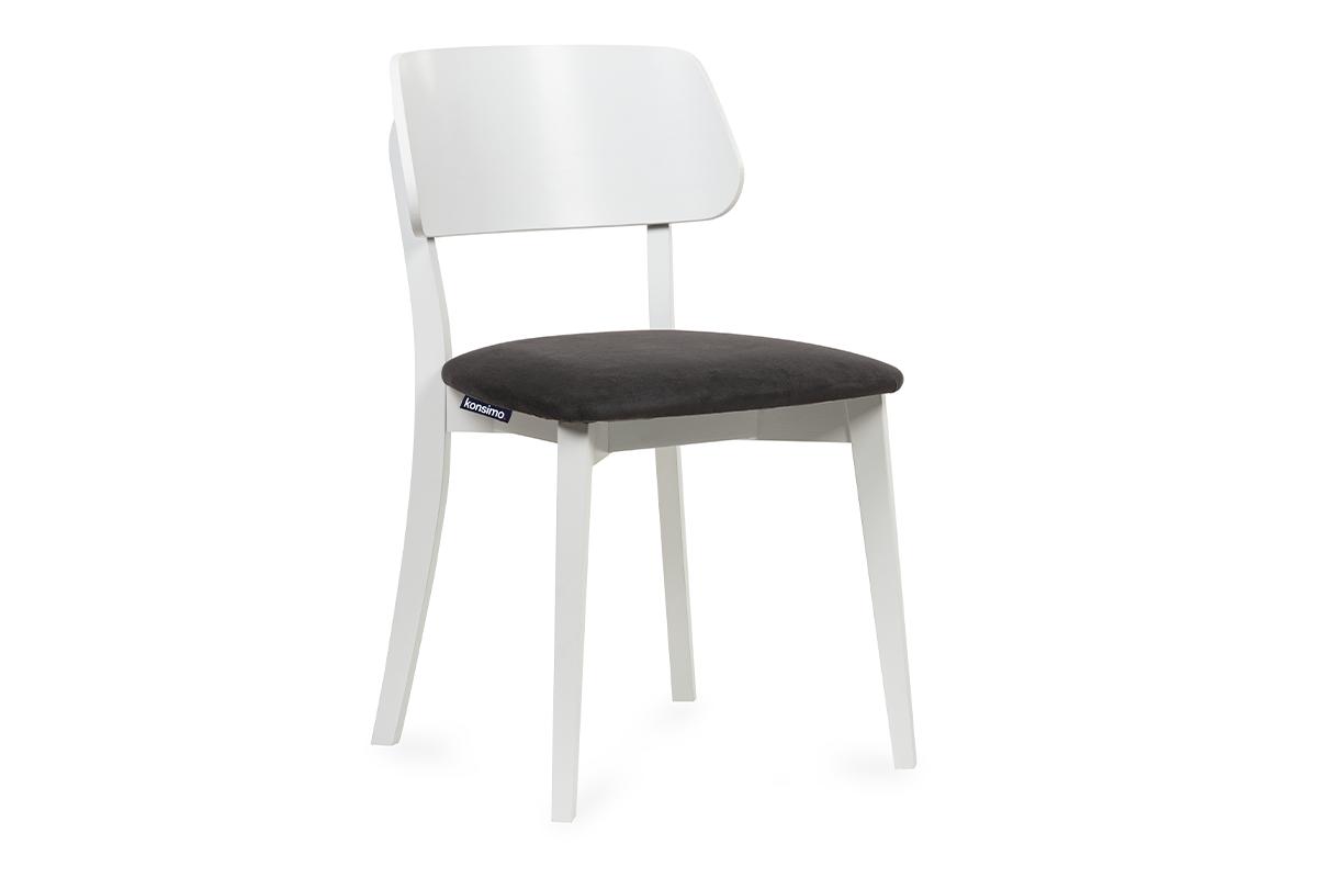 Krzesło nowoczesne białe drewniane grafit