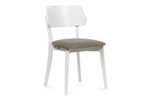 VINIS, https://konsimo.pl/kolekcja/vinis/ Krzesło nowoczesne białe drewniane beż beżowy/biały - zdjęcie