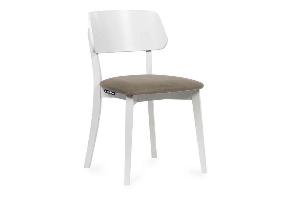 Krzesło nowoczesne białe drewniane beż