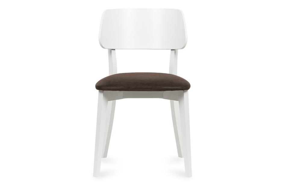 VINIS Krzesło nowoczesne białe drewniane brąz brązowy/biały - zdjęcie 1