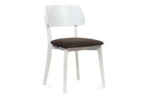 VINIS, https://konsimo.pl/kolekcja/vinis/ Krzesło nowoczesne białe drewniane brąz brązowy/biały - zdjęcie
