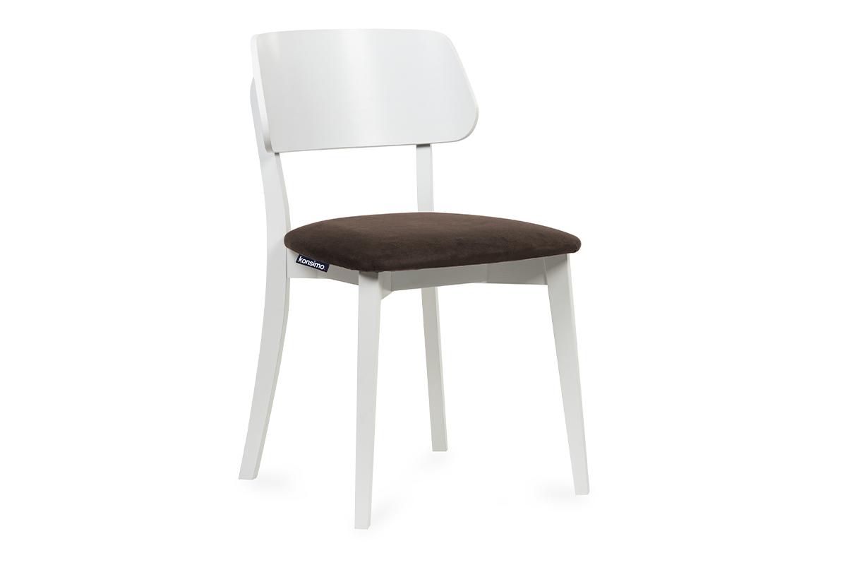 Krzesło nowoczesne białe drewniane brąz
