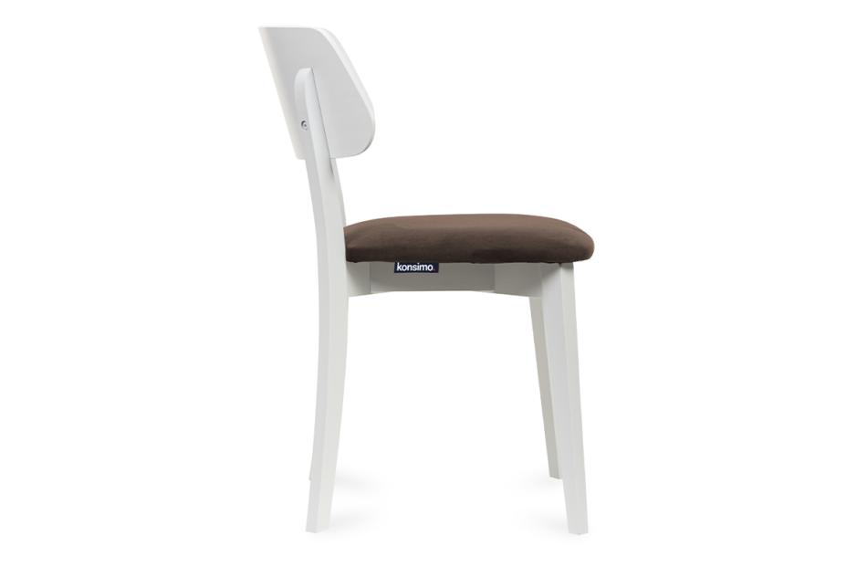 VINIS Krzesło nowoczesne białe drewniane brąz brązowy/biały - zdjęcie 2