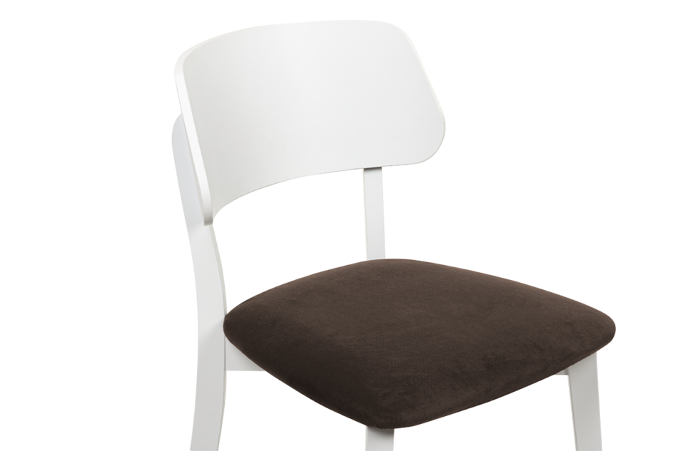 VINIS Krzesło nowoczesne białe drewniane brąz brązowy/biały - zdjęcie 4
