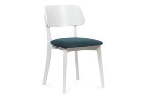 VINIS, https://konsimo.pl/kolekcja/vinis/ Krzesło nowoczesne białe drewniane turkus turkusowy/biały - zdjęcie