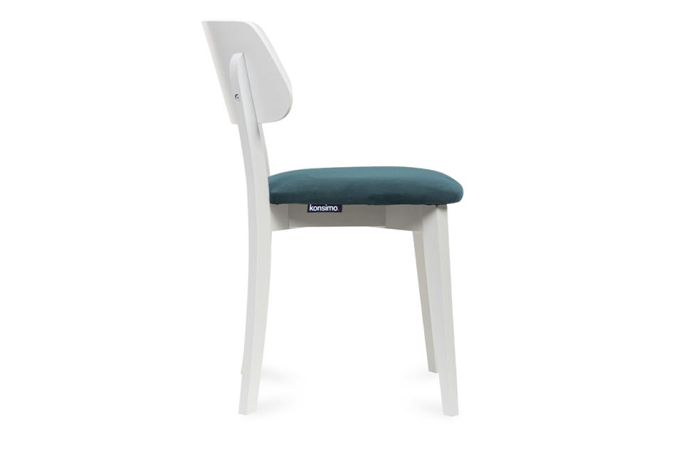 VINIS Krzesło nowoczesne białe drewniane turkus turkusowy/biały - zdjęcie 2