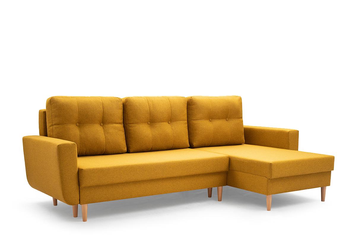 Narożnik z funkcją spania na drewnianych nóżkach żółty