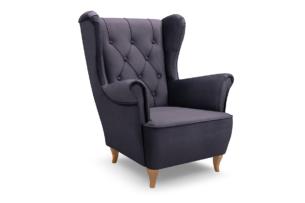 ERBO, https://konsimo.pl/kolekcja/erbo/ Skandynawski fotel uszak na drewnianych nóżkach szary ciemny szary - zdjęcie