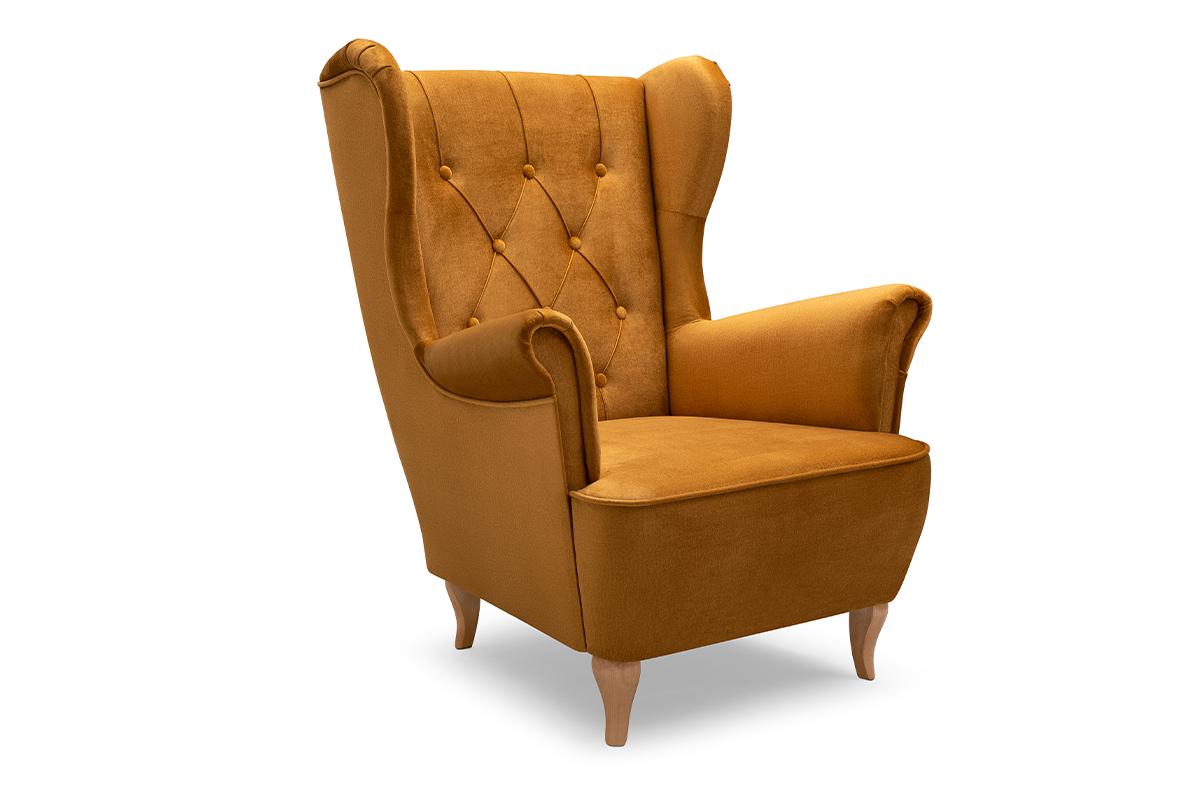 Skandynawski fotel uszak na drewnianych nóżkach żółty