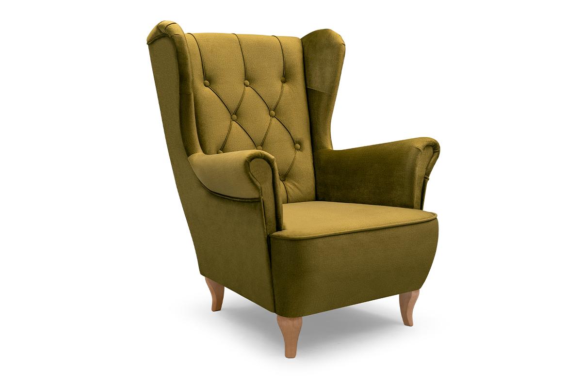 Skandynawski fotel uszak na drewnianych nóżkach zielony