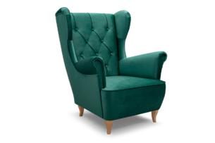 ERBO, https://konsimo.pl/kolekcja/erbo/ Skandynawski fotel uszak na drewnianych nóżkach butelkowa zieleń ciemny zielony - zdjęcie