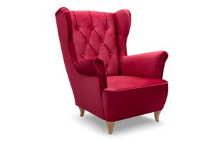 ERBO, https://konsimo.pl/kolekcja/erbo/ Skandynawski fotel uszak na drewnianych nóżkach czerwony czerwony - zdjęcie