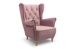 ERBO, https://konsimo.pl/kolekcja/erbo/ Skandynawski fotel uszak na drewnianych nóżkach różowy różowy - zdjęcie