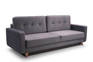 GUSTINA, https://konsimo.pl/kolekcja/gustina/ Skandynawska sofa 3 osobowa z funkcją spania szara Popiel - zdjęcie