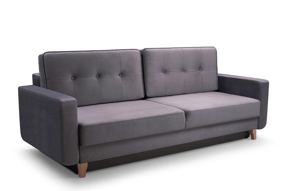 GUSTINA Skandynawska sofa 3 osobowa z funkcją spania szara Popiel - zdjęcie 0