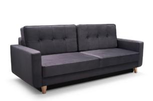 GUSTINA, https://konsimo.pl/kolekcja/gustina/ Skandynawska sofa 3 osobowa z funkcją spania grafitowa ciemny szary - zdjęcie