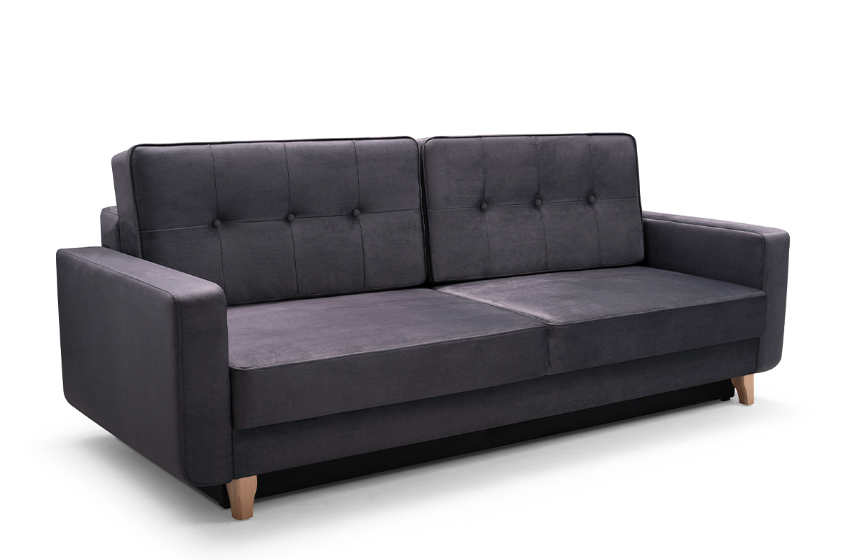 Skandynawska sofa 3 osobowa z funkcją spania grafitowa