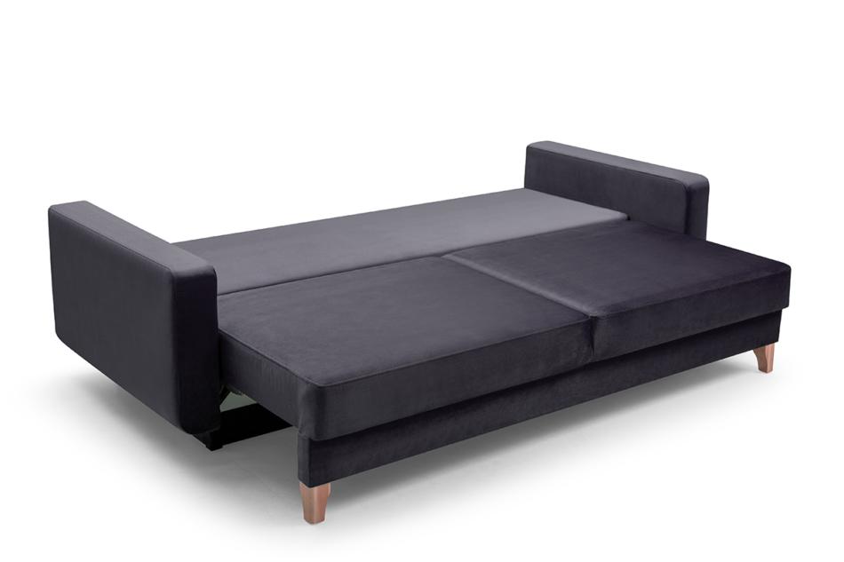 GUSTINA Skandynawska sofa 3 osobowa z funkcją spania grafitowa ciemny szary - zdjęcie 2