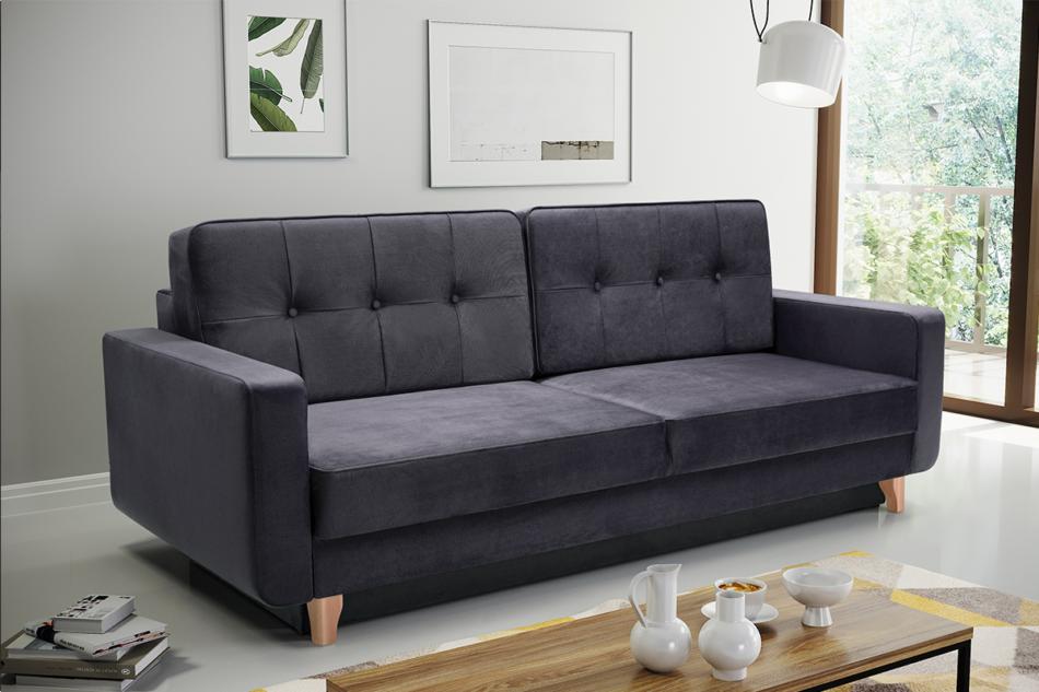 GUSTINA Skandynawska sofa 3 osobowa z funkcją spania grafitowa ciemny szary - zdjęcie 1